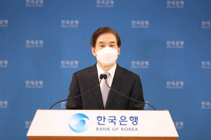 Bank of Korea Governor Lee Ju-yeol speaks during an online press conference after holding a monetary policy board meeting at its headquarters in Seoul, Thursday. Courtesy of Bank of Korea