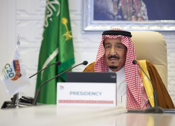 In this handout image provided by Saudi Royal Palace, Saudi King Salman gives his opening remarks at a virtual G20 summit hosted by Saudi Arabia and held over video conference amid the Covid-19 pandemic, in Riyadh, Saudi Arabia, Saturday, Nov. 21, 2020. AP