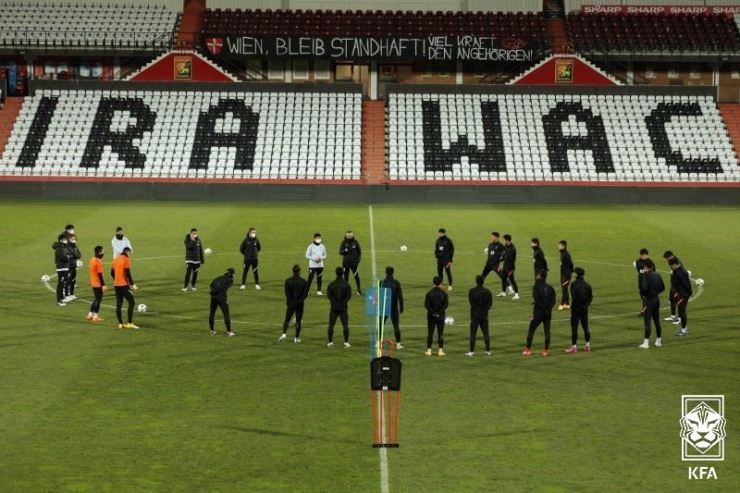 South Korea's national football team players train at the BSFZ Area in Austria, Nov. 16. / Courtesy of KFA