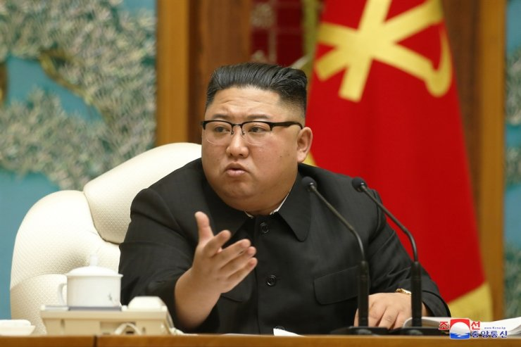 North Korean leader Kim Jong-un speaks during a politburo meeting of the Workers' Party in Pyongyang on Sunday, state media reported Monday. Yonhap