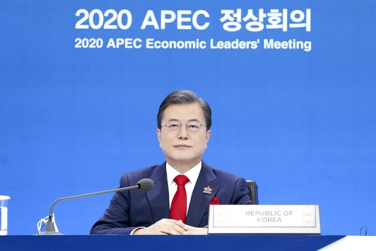 President Moon Jae-in takes part in an Asia-Pacific Economic Cooperation summit held online Friday. Yonhap
