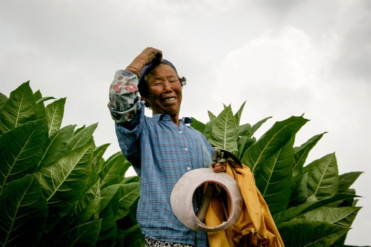 'You're So Cool. I Mean it': A farmer smiles in this 2009 photo which was included in Yang Hae-nam's photo-poetry book 'Capturing Winds.' Each photo is paired with a poem. The shy woman eventually agreed to pose for a photo after she initially refused Yang's request to take her picture. / Courtesy of Yang Hae-nam