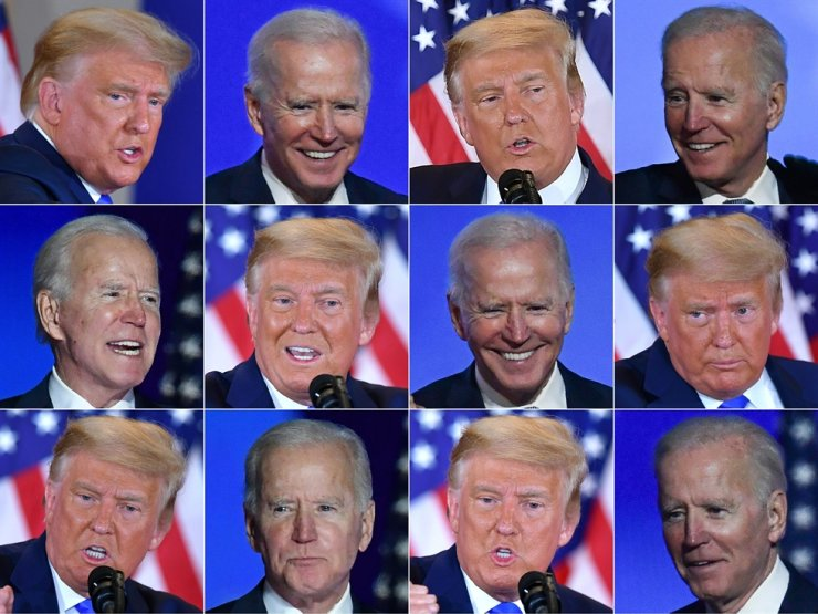 This combination of pictures created on Nov. 4 shows Democratic presidential nominee Joe Biden in Wilmington, Delaware, and U.S. President Donald Trump in Washington, D.C., during an election night speech. AFP