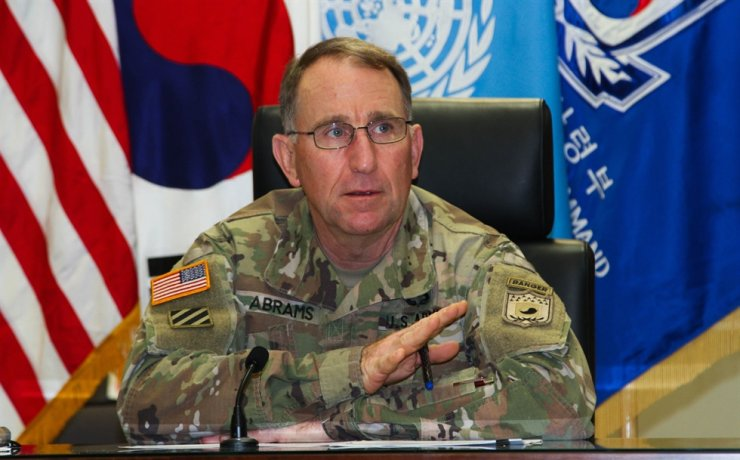 Gen. Robert Abrams, commander of the South Korea-U.S. Combined Forces Command (CFC), the United States Forces Korea (USFK) and the United Nations Command (UNC), speaks during a press conference to mark his two-year anniversary of leading the three separate commands, at the U.S. Army Garrison Yongsan in Seoul, Friday. Courtesy of South Korea-U.S. Combined Forces Command
