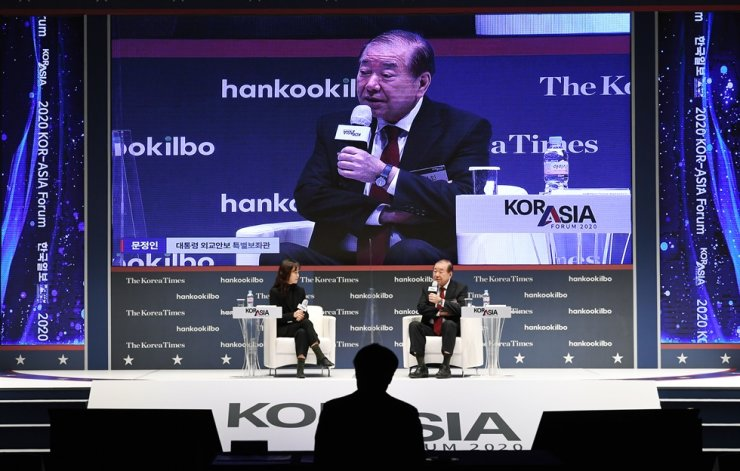 Moon Chung-in, special adviser to President Moon Jae-in for foreign affairs and national security, speaks during a session of the Kor-Asia Forum 2020 focusing on new relations between North Korea and the United States under the upcoming administration of President-elect Joe Biden. The forum was held under the theme, 'In the Era of Biden: The Future of Asia and the Korean Peninsula,' at The Shilla Seoul hotel, Wednesday. Korea Times photo by Hong In-ki