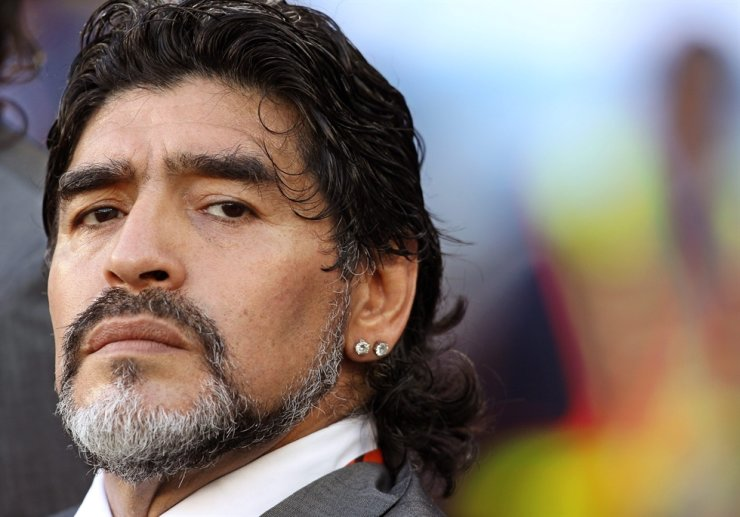Argentinian national football team head coach Diego Maradona is seen before the 2010 FIFA World Cup quarterfinal match between Argentina and Germany in Cape Town, South Africa, July 3, 2010. Maradona has died after a heart attack, media reported on Nov. 25, 2020. EPA