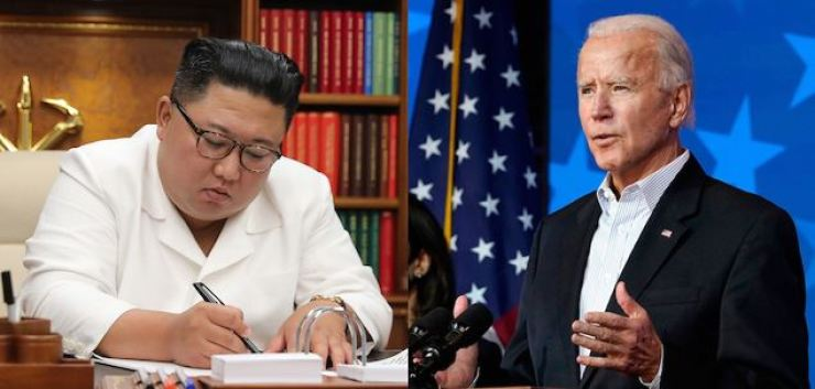 On left is North Korea's leader Kim Jong-un, and on right is Joe Biden, the president-elect of the United States. Yonhap