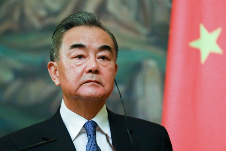 The Minister for Foreign Affairs and State Councillor of the Peoples Republic of China (PRC) Wang Yi gives a joint press conference with Russian Ministry of Foreign Affairs at Spiridonovka Street in Moscow, on Sept. 11. / Yonhap