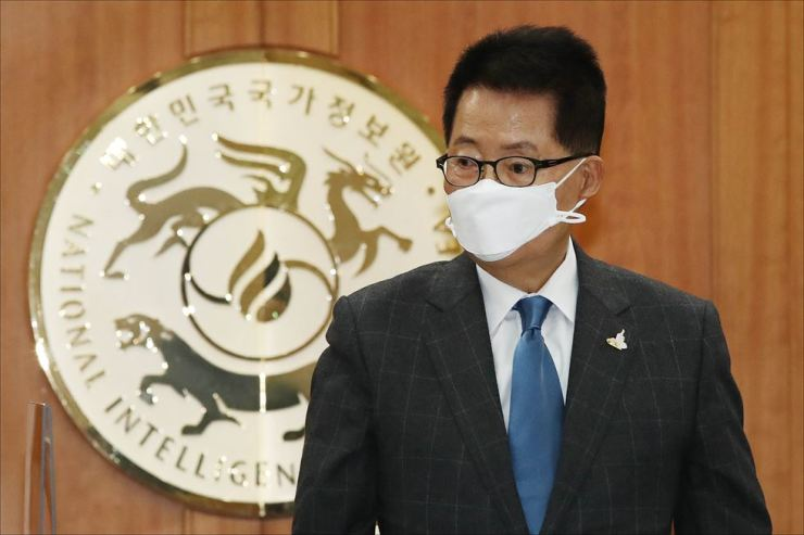 National Intelligence Service chief Park Jie-won is seen during a session of the National Assembly at the NIS headquarters, Nov. 3. Yonhap