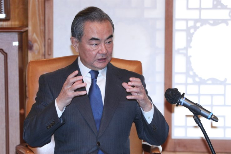 Chinese State Councilor and Foreign Minister Wang Yi speaks during his meeting on Nov. 27 with National Assembly Speaker Park Byeong-seug. Yonhap