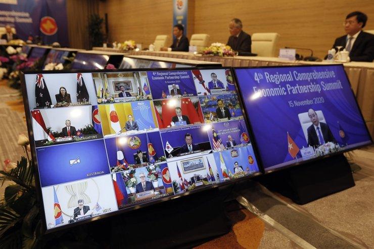The general view of the virtual 4th Regional Comprehensive Economic Partnership Summit in Hanoi, Nov. 15, 2020. EPA