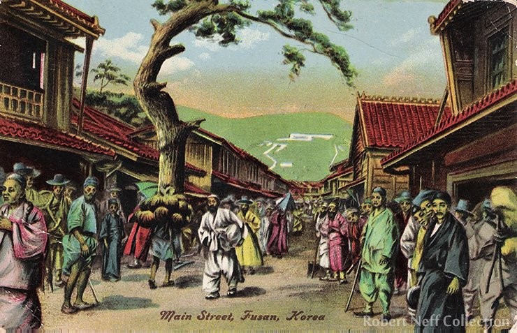 A print of the main street of Fusan in the early 20th century. Robert Neff Collection