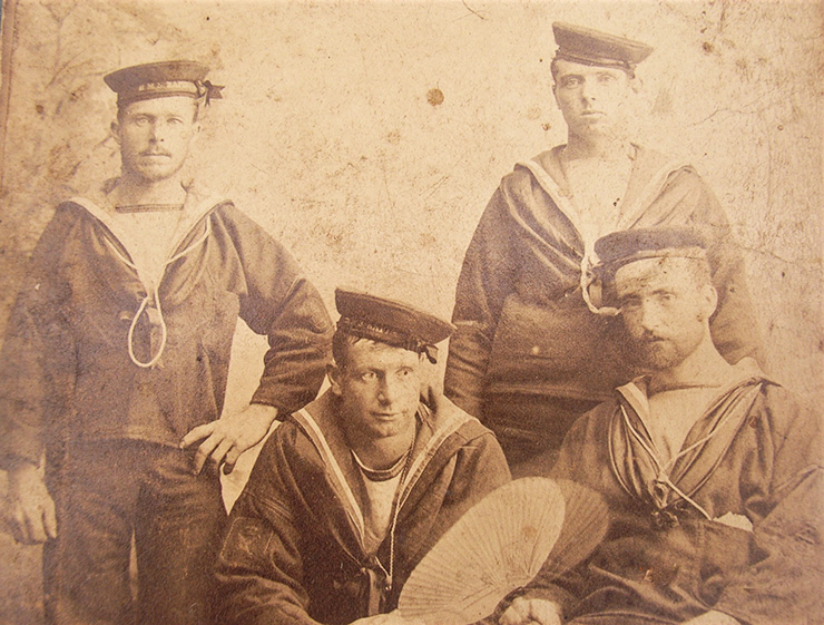 A memorial photograph of the Edgar's lost crew. Circa 1890s. Courtesy of Diane Nars