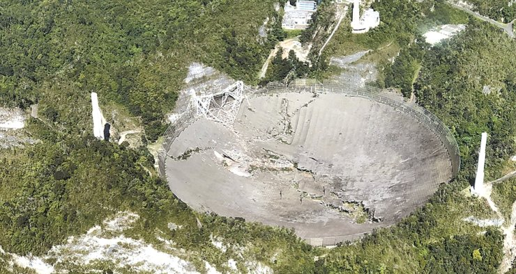 This photo provided by Aeromed shows the collapsed Radio Telescope in Arecibo, Puerto Rico, Tuesday. The already damaged radio telescope that has played a key role in astronomical discoveries for more than half a century completely collapsed, falling onto the northern portion of the vast reflector dish more than 400 feet below. / AP-Yonhap