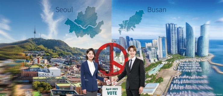 Seoul and Busan, the nation's two largest cities, will have by-elections for selecting their mayors on April 7, 2021. Korea Times graphic by Cho Sang-won