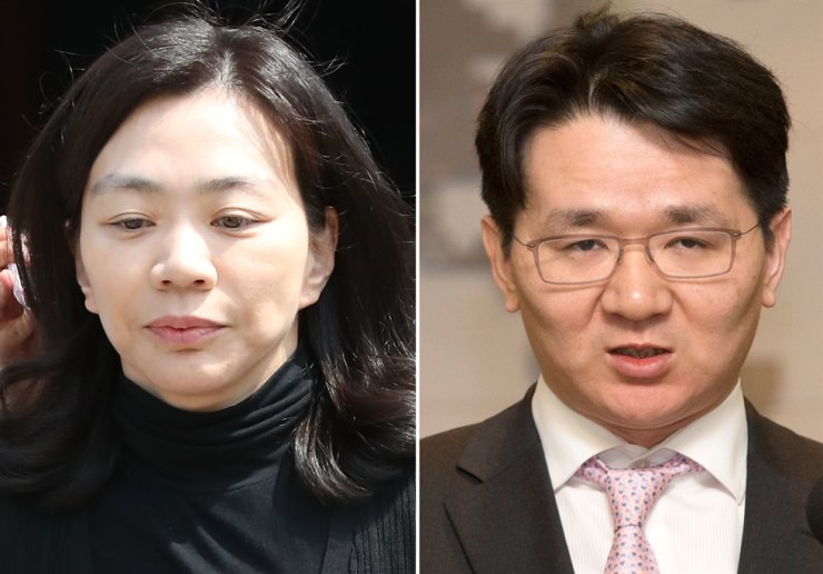 From left, Korean Air heiress Cho Hyun-ah, Hanjin KAL Chairman Cho Won-tae