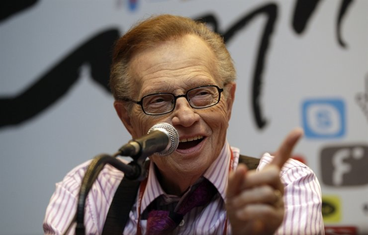 In this May 25, 2011, file photo, Larry King answers reporters' question at a press conference for Seoul Digital Forum in Seoul. King, who interviewed presidents, movie stars and ordinary Joes during a half-century in broadcasting, has died at age 87. AP