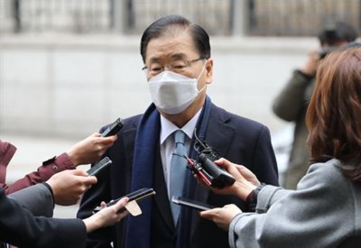 Foreign minister nominee Chung Eui-yong speaks to reporters as he arrives at a temporary office in Seoul, Thursday. / Yonhap