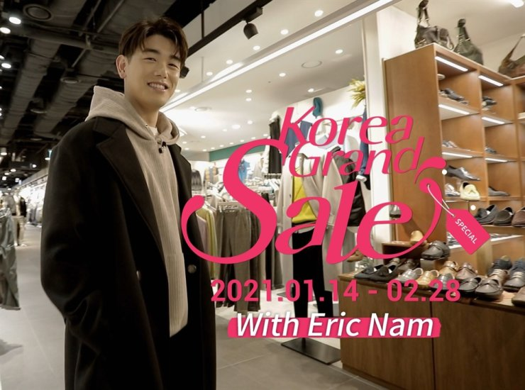 A screenshot of a video promoting Korea Grand Sale 2021. Hallyu star Eric Nam is acting as a guide to tell stories about the culture and tourism festival for travelers around the world. / Courtesy of Visit Korea Committee