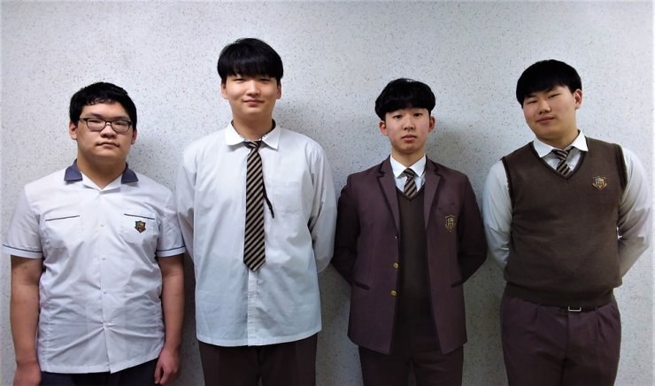 From left: Lee Min-hyoung, Cho Yoon-sung, Kim Jong-seo and Kim Jae-hyoung / Courtesy of Dongducheon Foreign Language High School