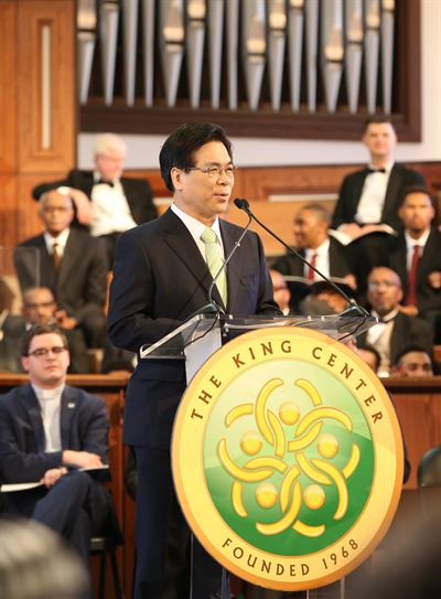 Lee Young-hoon, the Yoido Full Gospel Church's senior pastor during a special service held to honor the late Dr. Martin Luther King, Jr. in Atlanta, Ga., in this Jan. 15, 2018 file photo. Courtesy of Yoido Full Gospel Church