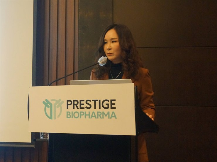 Founder and CEO of Prestige Biopharma Park So-yeon speaks during a press conference held at Conrad Seoul on Yeouido on Monday. / Courtesy of Prestige BioPharma