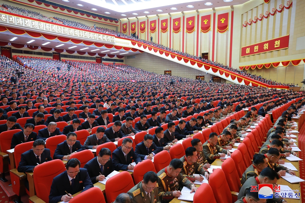 North Korean leader Kim Jong-un gives a speech for the eighth congress of the ruling Workers' Party in Pyongyang, Tuesday, according to the Korean Central News Agency. Yonhap