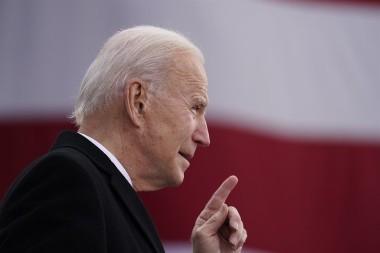 U.S. President-elect Joe Biden speaks at the Major Joseph R. 'Beau' Biden III National Guard/Reserve Center, Tuesday, Jan. 19, 2021, in New Castle, Del. AP