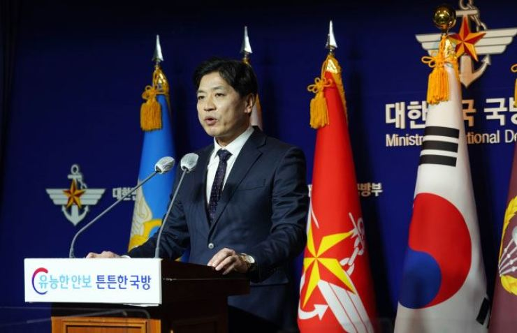 South Korean defense ministry spokesperson Boo Seung-chan speaks during a regular briefing at the ministry's headquarters in Seoul's Yongsan District, Tuesday. Yonhap