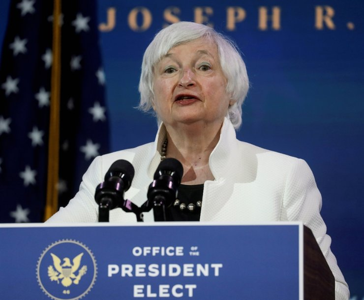 Janet Yellen, U.S. President-elect Joe Biden's nominee to be treasury secretary, speaks as Biden announces nominees and appointees to serve on his economic policy team at his transition headquarters in Wilmington, Delaware, U.S., December 1, 2020. REUTERS-Yonhap