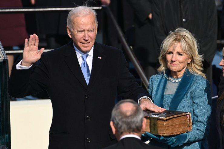Joe Biden is sworn in as the 46th U.S. president in Washington, D.C., Wednesday. / EPA-Yonhap