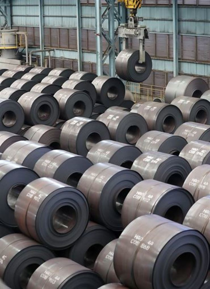 Hot-rolled coils at a steel making company's storage yard in Pohang, North Gyeongsang Province. Yonhap