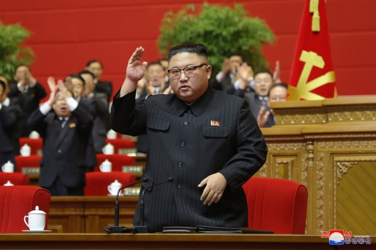 North Korean leader Kim Jong-un gestures at the congress of the ruling Workers' Party in Pyongyang on Tuesday, state media reported Wednesday. Yonhap
