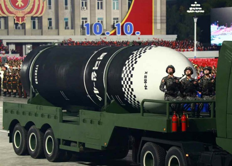 North Korean intercontinental ballistic missile 'Pukguksong-4A' is being displayed during a North Korean military parade held in Pyongyang on Oct. 10, 2020 to celebrate the 75th anniversary of foundation of the country's ruling Workers' Party. / Yonhap
