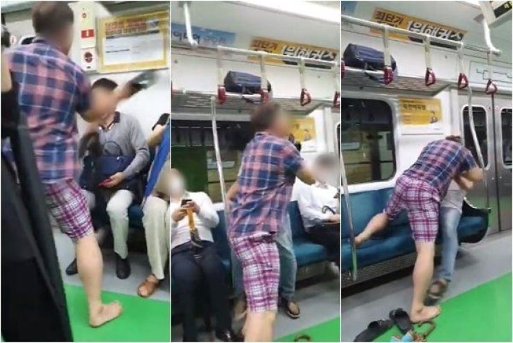 A local court on Friday sentenced a man to 20 months in prison for attacking passengers on the subway after he was asked to wear a face mask, on Aug. 27, 2020. / Screen captured from YouTube