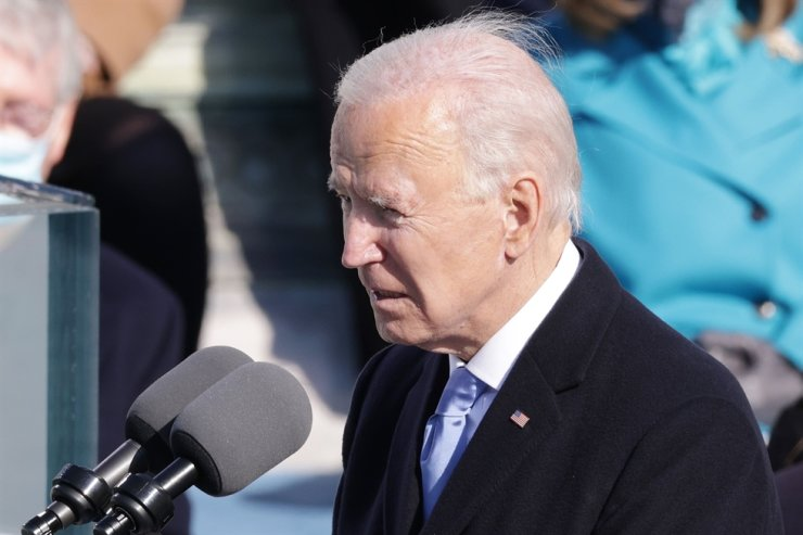 U.S. President Joe Biden delivers his inaugural address on the West Front of the U.S. Capitol on January 20, 2021 in Washington, DC. During today's inauguration ceremony Joe Biden becomes the 46th president of the United States. AFP-Yonhap