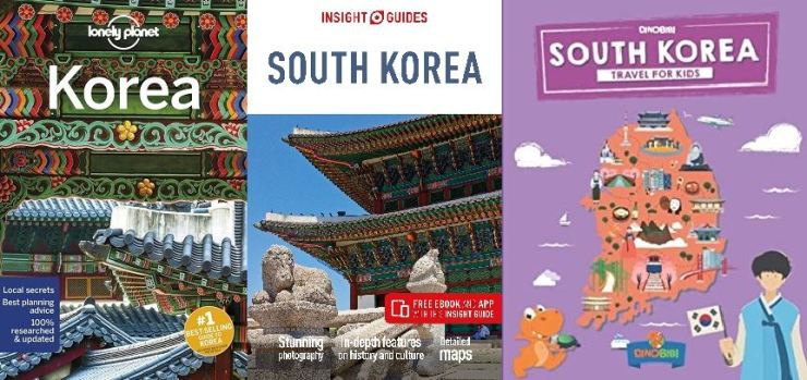Lonely Planet's 'Korea,' Insight Guides' 'South Korea' and Dinobibi Publishing's 'South Korea: Travel for Kids' / Courtesy of VANK