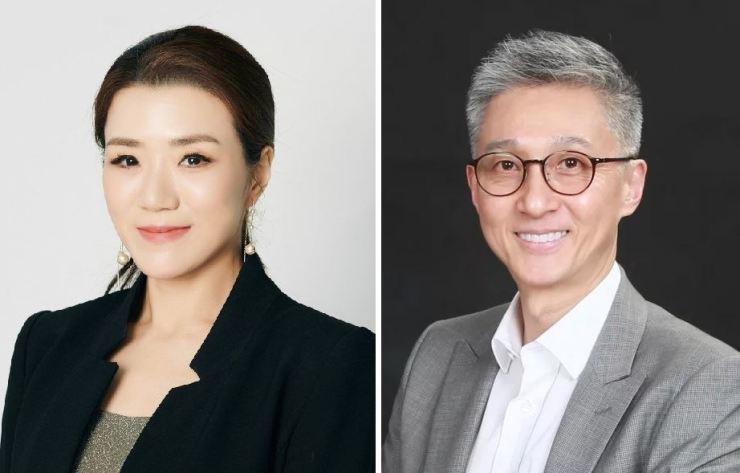 Hanjin Transportation Vice President Emily Lee Cho, left, and HYK Partners CEO Hahn Woo-jae