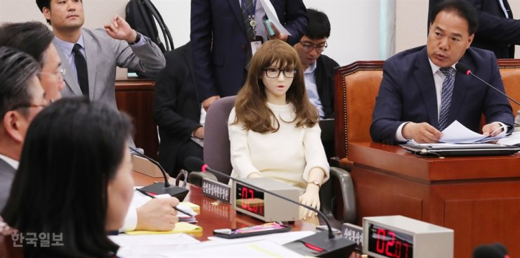 In this Oct. 18, 2019, file photo, a life-size sex doll is seen at the National Assembly during a parliamentary inspection. Korea Times file
