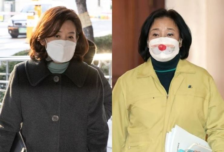 On the left is Na Kyung-won, a political heavyweight and a former four-term lawmaker with the main opposition People Power Party, and on the right is SMEs and Startups Minister Park Young-sun, a former four-term lawmaker with the ruling Democratic Party of Korea. The two female heavyweights are expected to declare their bids to run in their parties' primaires for the Seoul mayoral by-election, which has remained vacant following the suicide of Seoul Mayor Park Won-soon in last July, over sexual harassment allegations raised by a former secretary. Yonhap