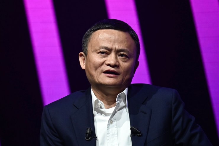 This file photo taken on May 16, 2019, shows Jack Ma, CEO of Chinese e-commerce giant Alibaba, speaking during his visit at the Vivatech startups and innovation fair in Paris. AFP