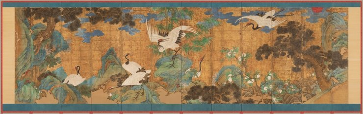 'Sea, Cranes and Peaches' created in the late Joseon era, and belonging to the collection of the Dayton Art Institute in the U.S., is on view at the National Palace Museum of Korea after undergoing restoration in Korea. / Courtesy of Cultural Heritage Administration