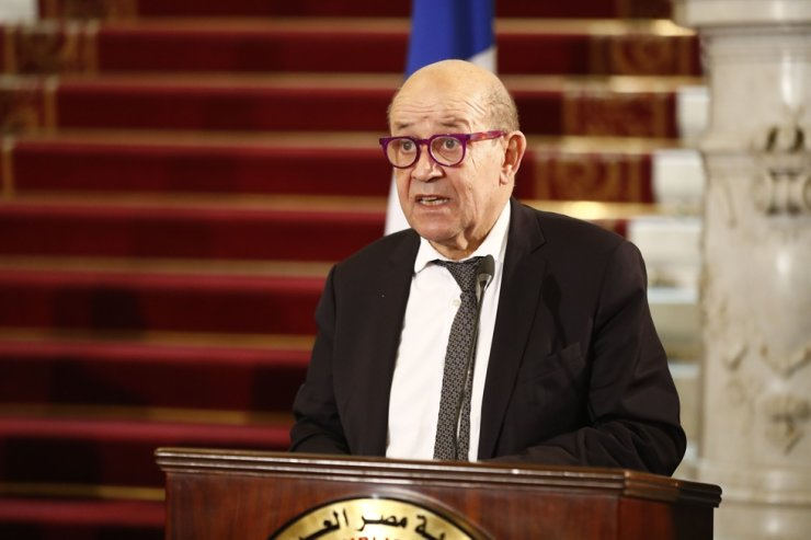 France's Foreign Minister Jean-Yves Le Drian speaks during a joint press conference with his Egyptian, German, and Jordanian counterparts following a meeting to discuss the Middle East peace process, in the Egyptian capital Cairo, on January 11, 2021. (AFP-Yonhap)