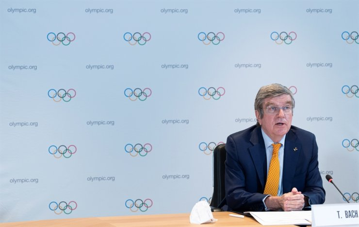 IOC President Thomas Bach hosts the first Executive Board meeting for 2021 at the Olympic House in Lausanne, Switzerland, Jan. 27, 2021. Reuters