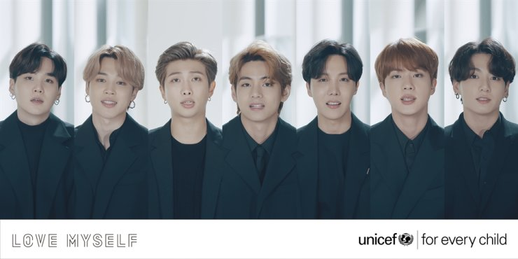 Members of K-pop juggernaut BTS speak at the virtually held 75th United Nations General Assembly, Sept. 23, 2020, delivering a message of hope amid the COVID-19 pandemic. / Courtesy of UNICEF