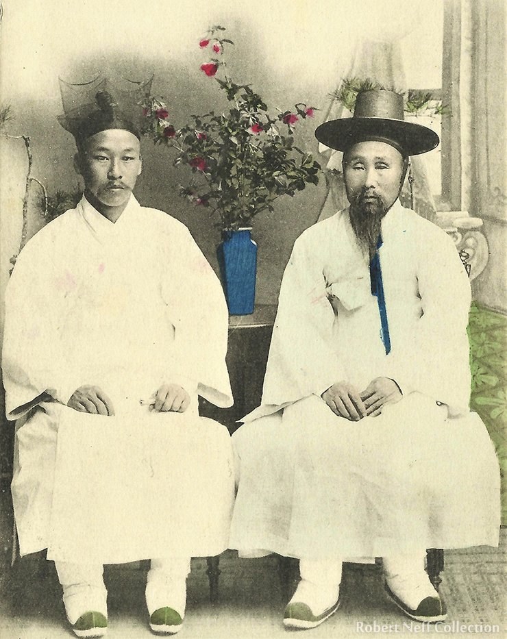 A Korean gentleman and his son. Circa late 19th century.  Robert Neff Collection