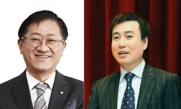 From left, AmorePacific Group Chairman Suh Kyung-bae and LG Household & Health Care CEO Cha Suk-yong / Korea times file