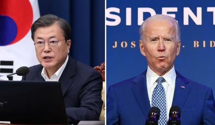President Moon Jae-in and U.S. President Joe Biden talked on the phone earlier this month and discussed Korean Peninsula issues. Korea Times file
