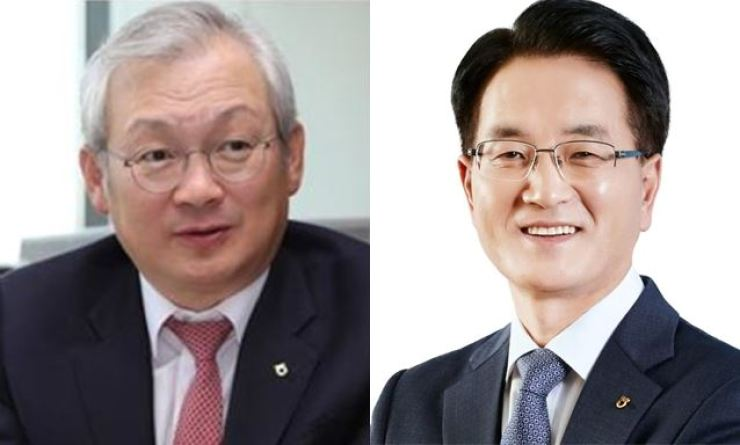 NH Investment & Securities CEO Chung Young-chae, left, and NongHyup Financial Group CEo Son Byung-hwan / Courtesy of NongHyup Financial Group