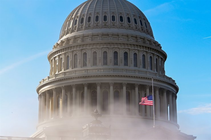 The U.S. Capitol dome is seen through steam as the Senate impeachment trial against former President Donald Trump begins in Washington, U.S., Feb. 9, 2021. Reuters